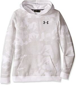 Under Armour Boys Titan Fleece Printed Hoodie WhiteGraphite Youth Small