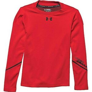 Under Armour Boys Coldgear Infrared Mock Neck Top Risk Red  Black XL