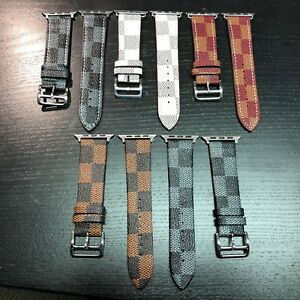 Louis V BAND BRACELET GENUINE LEATHER L V STRAP APPLE WATCH SERIES 1 2 3