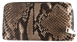Wallet Women Double Zipped Snake Genuine Leather For Bank And Cards - Brown