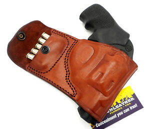 TAGUA Brown Leather RH OWB Belt Holster with Ammo Pouch for RUGER LCR 22 38 357