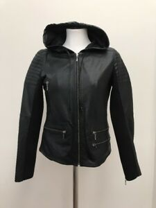 Trouve Black Leather Knot Hoodie Zip Jacket  Knit Underarms  Zip Sleeves XS NEW