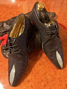 ZILLI Black Skin Fish Stingray Shoes 6 Made In Italy & Leather Travel Bag