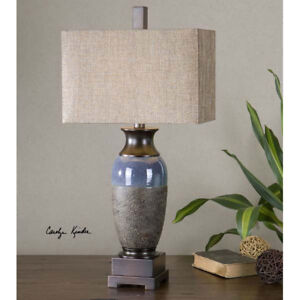 Stone Bronze & Gloss Blue Transitional Ceramic Table Lamp