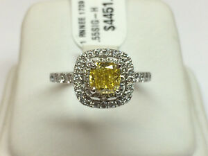 Neil Lane Halo Style Diamond Engagement Ring with Yellow Cushion Cut Diamond!