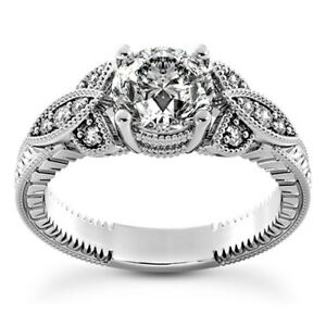 Halo Pave .75 Carat VS2H Round Diamond Engagement Ring 14K White Gold