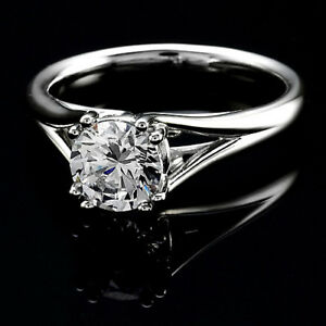 Solitaire Double Prong .48 Carat VS2E Round Diamond Engagement Ring White Gold