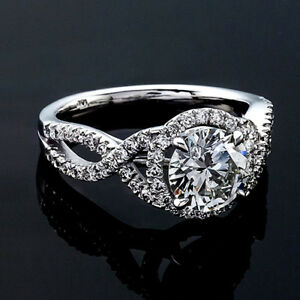 Halo Pave 1.16 Carat VS2H Real Round Cut Diamond Engagement Ring White Gold