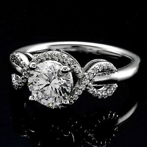Halo .85 Carat SI1J Round Cut Real Diamond Engagement Ring White Gold