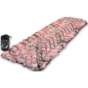 Pink Inflatable Travel Sleeping Pad Camping Gear Air Mattress Carry Bag Out Door