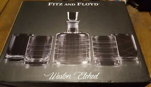 Fitz and Floyd Linus 5 Piece Whiskey Set Weston Etched $39.99