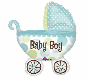 It's A Boy Baby Buggy Shaped Mylar Foil Balloon for Baby Shower        #1064