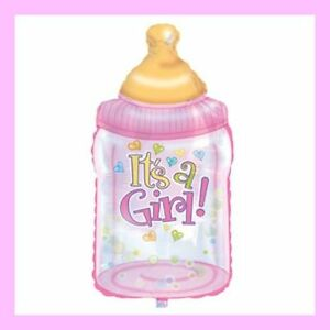 It's A Girl Baby Bottle Shaped Foil Balloon for Baby Shower  (#1086)