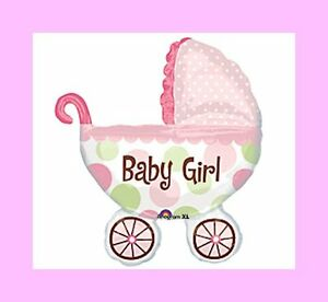 It's A Girl Baby Buggy Shaped Mylar Foil Balloon for Girl Baby Shower (#1064)