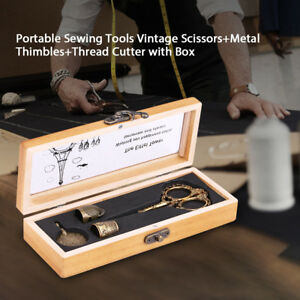 Metal Sewing Tools Kit Set Vintage ScissorsThimblesThread Cutter in Wooden Box $24.94