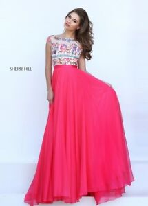 Sherri Hill 50457 Long Evening Dress Authentic Gown Size 4 PINK