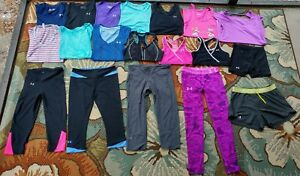 HUGE Under Armour Women's XS S ATHLETIC 19 PIECE LOT LEGGING SHIRTS SHORTS BRA