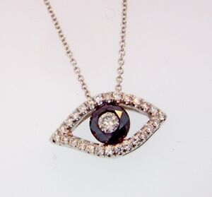 White inside Black Diamond 1.17ctw EVIL EYE Pendant Necklace 18kt White Gold 16
