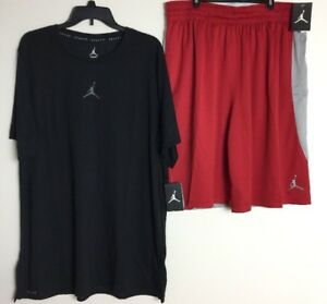 jordan dri fit Outfit Shirt And Short Redblackgrey Men's 2XL