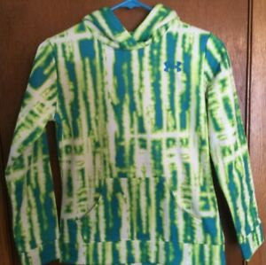 UNDER ARMOUR STORM LOOSE GIRLS  YMDJMD PULLOVER TYE DYE GREEN HOODIE  EUC!