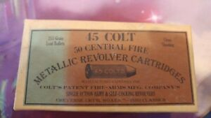 Vintage Colt 45 Central Fire Metallic Revolver Cartridges box 25 spent Cartridge
