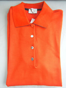 New Authentic Hermes Women Polo shirt bicolor sport casual Orange Feu M Medium