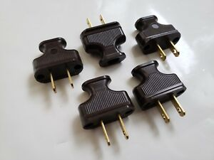 5 PACK Vintage Brown Antique Style Electrical Plug Cloth Covered Wire Lamp Cord