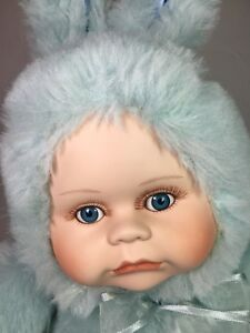 Porcelain Baby Faced Easter Bunny Plush Doll 12quot; Blue $19.99