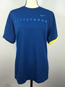 Nike Fit Dry Women's Royal Blue LIVESTRONG Short Sleeve Shirt Size Small