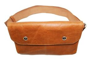 Light Brown Leather Fanny Pack Removable Strap Travel Hip Bum bag Purse wallets
