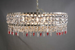 Chandelier Crystal Curtain in the Classicism Style um 1950 Chandelier