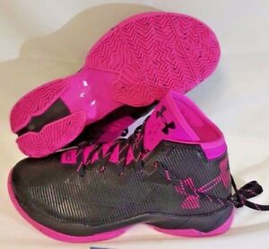 UNDER ARMOUR UA Kids Boys Curry 2.5 Basketball Shoes Sneakers Black Pink Sz 6