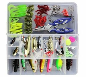 Fishing Lures Set Mixed Lot For Saltwater Freshwater with Tackle Box Bass Trout