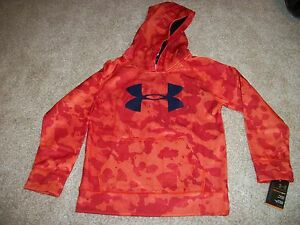 UNDER ARMOUR New NWT Boys Kids Camo Camouflage Jacket Hoodie Coat Orange 4 6 7