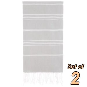Turkish Beach Towel Set of 2 – Soft Natural Cotton Quick Dry Striped Pestemals