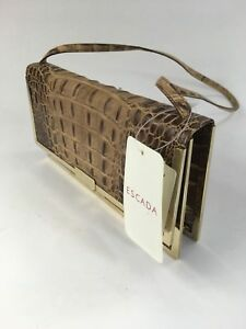 Designer Escada Calf Embossed Leather Hand Bag Purse Gold Clasp Italian NWTS