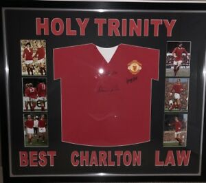 Signed Manchester United Retro Holy Trinity Shirt By Best Law And Charlton