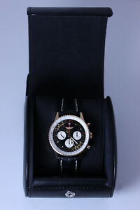 GORGEOUS!! 18K Rose Gold Breitling Navimeter Watch on Black Leather Band- 12777