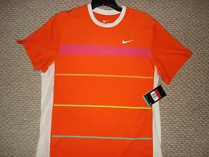NWT Nike Nadal Rush & Crush Tennis Crew Shirt Orange Federer 363328-827 LG RARE