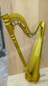 HB Beautiful Gold 42 Strings Pillar Design Lever Harp Antique Christmas Gift