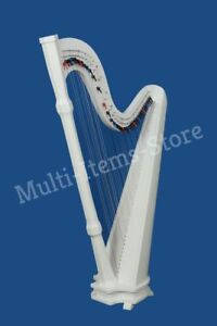HB Beautiful White 42 Strings Pillar Design Lever Harp Antique Christmas Gift