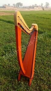 HB Beautiful 34 Strings Pillar Design Lever Harp Antique Christmas Gift