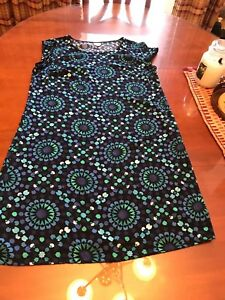 Woman's Merona green, blue and black pull on Dress L