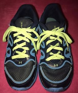UNDER ARMOUR SPINE Athletic Tennis Shoe BOYSMens Size-(3Y) Navy Neon BlueGreen