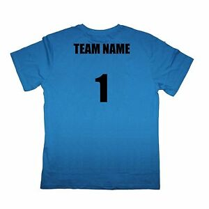 Sport Team Blue Shirts Set of 12 Team Name and Number $18 ea - Sizes kids to XL