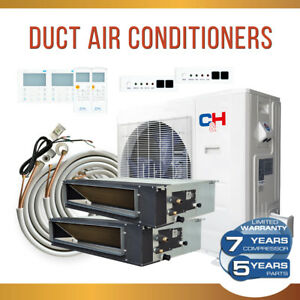 Dual 2 Zone 18k 18k Slim Duct Concealed Mini Split Air Conditioner Heat Pump Kit