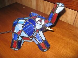 Tiffany Style Stained Glass  Elephant Night Light