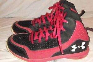 UNDER ARMOUR GRADE SCHOOL BoysYouth Black Red Basketball Shoes Size 5Y