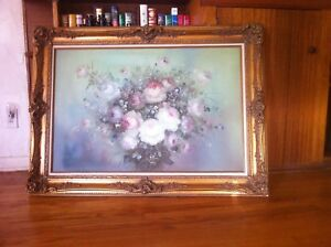 Louis XV Gold Leaf Wood & Stucco with Nancy Lee Flower Painting 32 12 x 44 12