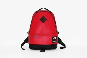 RARE* Supreme x TNF Bag Red Leather Brand New Back Pack Limited The North Face